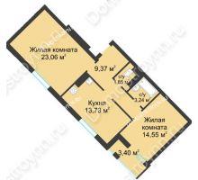 2 комнатная квартира 67,5 м² в ЖК Воскресенская слобода, дом №1 - планировка