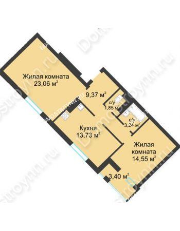 2 комнатная квартира 67,5 м² в ЖК Воскресенская слобода, дом №1