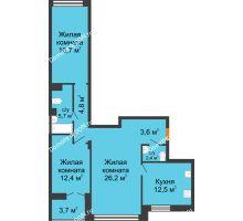 3 комнатная квартира 86,2 м² - ЖК Дом на 17-й Линии, 3