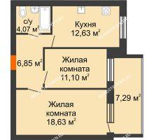 2 комнатная квартира 56,93 м² в ЖК Свобода, дом 1 очередь