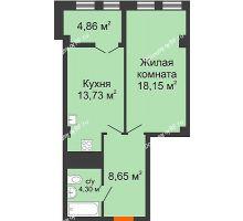 1 комнатная квартира 49,69 м² в ЖК СИТИДОМ, дом 4 очередь,корпус 3 - планировка