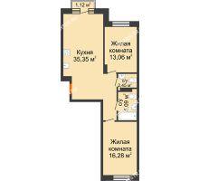 2 комнатная квартира 72,57 м², ЖК Шаляпин - планировка