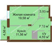 1 комнатная квартира 51,92 м² - ЖК Олимп