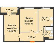 2 комнатная квартира 55,89 м² в ЖК Москва Град, дом 60/1 - планировка