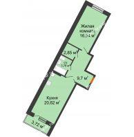 2 комнатная квартира 55,35 м² в ЖК Мандарин, дом 2 позиция 5-8 секция - планировка
