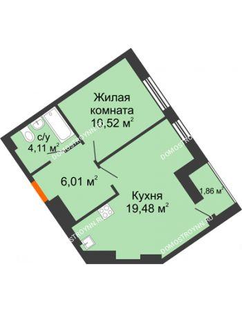 1 комнатная квартира 41,98 м² - ЖК Пушкин