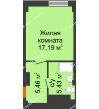 Студия 23,08 м², Апарт-Отель Гордеевка - планировка