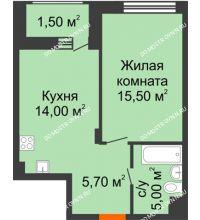 1 комнатная квартира 41,7 м² в ЖК Заречье, дом № 7 - планировка