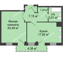1 комнатная квартира 53,23 м² - ЖК Сергиевская Слобода