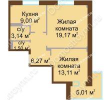 2 комнатная квартира 54,64 м² - Жилой дом Каскад на Даргомыжского