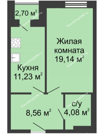1 комнатная квартира 45,71 м² - ЖК Вдохновение