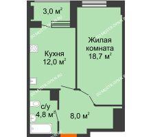 1 комнатная квартира 45 м² в ЖК Квартет, дом № 3 - планировка