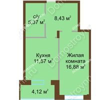 1 комнатная квартира 46,37 м² в ЖК Солнечный город, дом на участке № 208 - планировка
