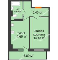 1 комнатная квартира 40,26 м² в ЖК Свобода, дом №2 - планировка