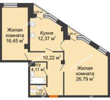 2 комнатная квартира 72,52 м² в ЖК Дом на Провиантской, дом № 12 - планировка