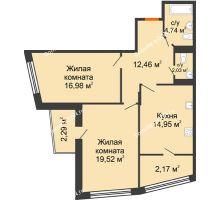 2 комнатная квартира 75,14 м² в Микрорайон Красный Аксай, дом Литер 21