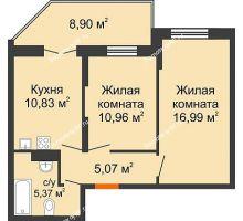 2 комнатная квартира 53,67 м² в ЖК Символ, дом Литер 1 - планировка