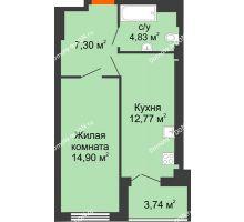 1 комнатная квартира 42,3 м², ЖК Уютный дом на Мечникова - планировка