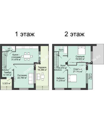 4 комнатная квартира 158,6 м² в КП DolinaGreen (Долина Грин), дом Типа квадрохаус (158,6 м2)