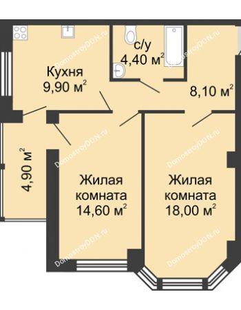 2 комнатная квартира 59,9 м² в ЖК Мега, дом № 2