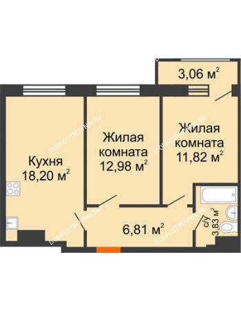 2 комнатная квартира 56,7 м² в ЖК Город времени, дом № 18