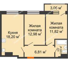 2 комнатная квартира 56,7 м² в ЖК Город времени, дом № 18 - планировка