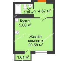 Студия 28,69 м² в ЖК Мечников, дом ул. Мечникова, 37 - планировка