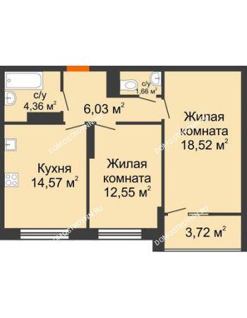 2 комнатная квартира 59,55 м² в ЖК Маленькая страна, дом № 4