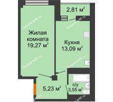 1 комнатная квартира 41,3 м² в ЖК Солнечный, дом № 2 - планировка