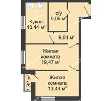 2 комнатная квартира 59,26 м², ЖК Вдохновение - планировка