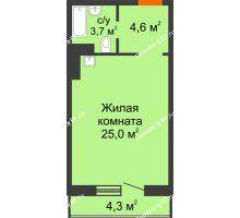 Студия 34,6 м² в ЖК Мичурино, дом № 3.2 - планировка