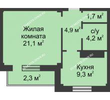 1 комнатная квартира 43,5 м² в ЖК На Победной, дом № 3 - планировка