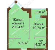 1 комнатная квартира 45,59 м², ЖК Грани - планировка