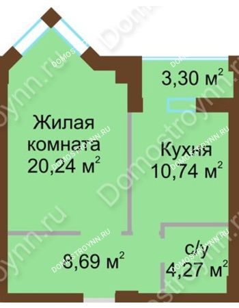 1 комнатная квартира 45,58 м² - ЖК Грани