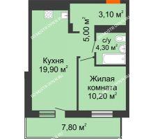 1 комнатная квартира 46,4 м² в ЖК Корица, дом № 1 - планировка