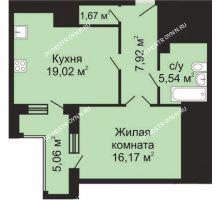 1 комнатная квартира 53,04 м², ЖК Гелиос - планировка