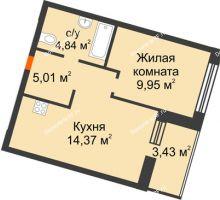 2 комнатная квартира 35,89 м² в ЖК Квартал на Московском, дом Альфа - планировка