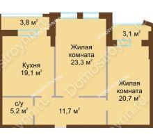 2 комнатная квартира 83,4 м², Жилой дом: ул. Почаинская д. 33 - планировка