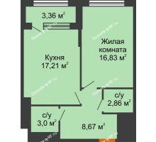 1 комнатная квартира 50,25 м², ЖК Гран-При - планировка
