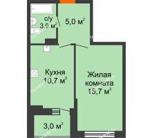 1 комнатная квартира 36,8 м² в ЖК Дружный 2, дом Литер 3.3 - планировка
