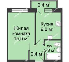 1 комнатная квартира 30,9 м² в ЖК Окский берег, дом №1, Индустриальная улица