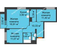 3 комнатная квартира 63,33 м², ЖК Каскад на Путейской - планировка