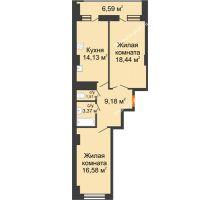 2 комнатная квартира 66,51 м² в ЖК Встреча, дом № 1 - планировка