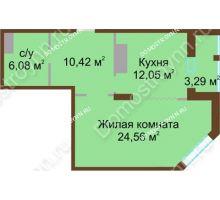 1 комнатная квартира 53,11 м² в ЖК Высоково, дом № 2 - планировка