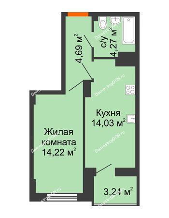 1 комнатная квартира 38,83 м² в ЖК Аврора, дом № 3