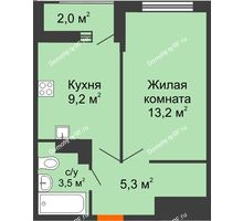 1 комнатная квартира 32,2 м² в ЖК Акварели-2, дом Литер 4 - планировка