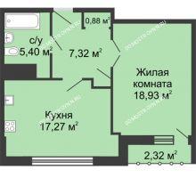 1 комнатная квартира 50,96 м², ЖК Сергиевская Слобода - планировка
