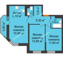3 комнатная квартира 59,3 м² в ЖК Южный Берег, дом Литер 4 - планировка