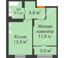 1 комнатная квартира 36,8 м² в ЖК Новая Кузнечиха, дом № 31 - планировка