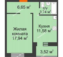1 комнатная квартира 43,43 м² в ЖК Троицкий, дом Корпус 1 - планировка